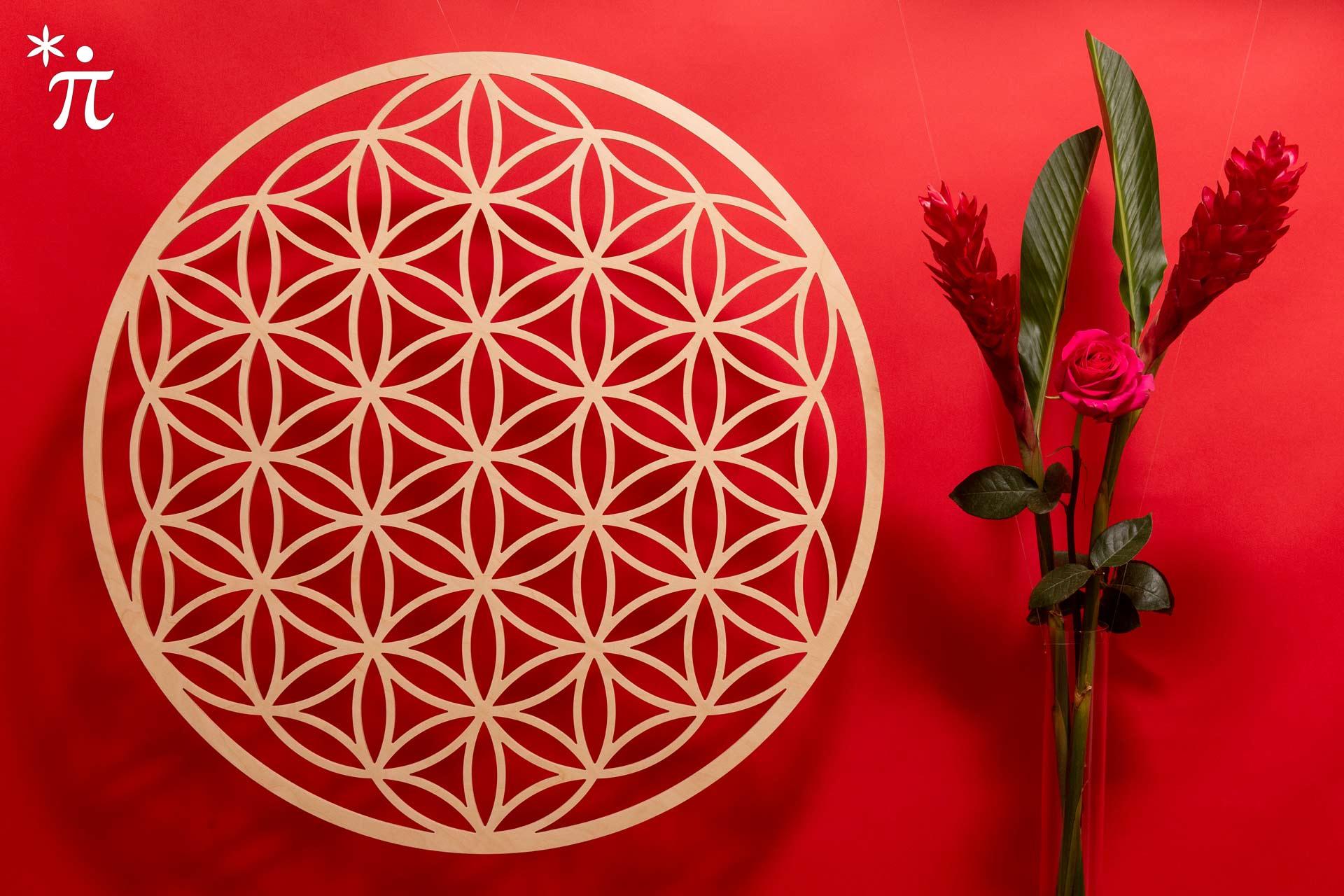Blume-des-Lebens-aus-Holz-77cm-Birke-rote-Wand-mit-Rose-und-Ginger